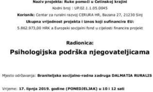 """U sklopu projekta """"Ruke pomoći u Cetinskoj krajini"""" održava se radionica """"Psihologijska podrška njegovateljicama"""""""